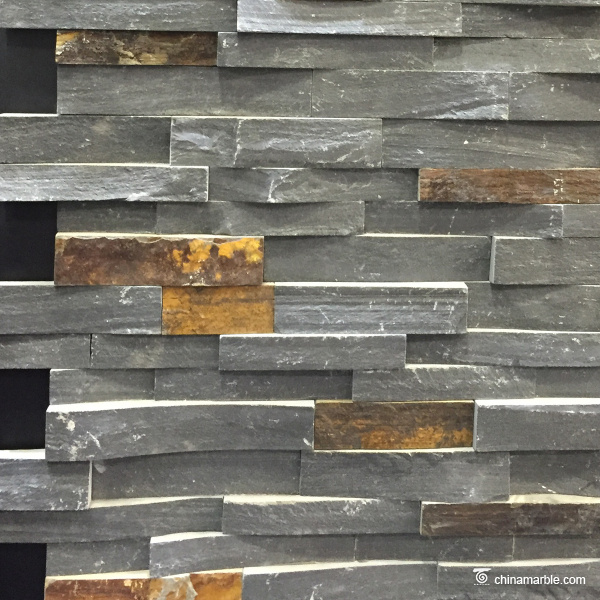 Black And Rust Slate Rock Face Stacked Stone China Marble