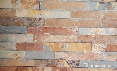 Rust Slate Flat Stacked Stone Panel Thin Stone Veneer