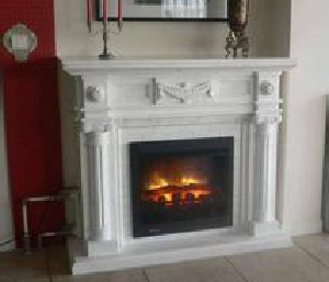 Classic white marble fireplace