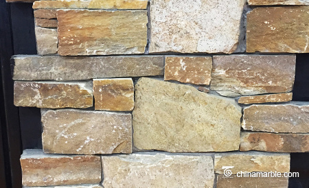 Gold Sunset Quartzite Meshed Back Wallstone