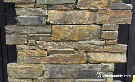 S1120 Rust Slate Meshed Back Cultured Wallstone