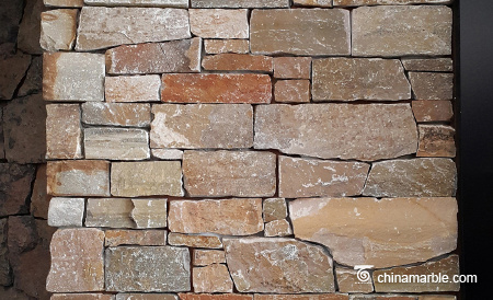 Gold Brown Slate Meshed Back Wallstone Stacked Ledge Panel