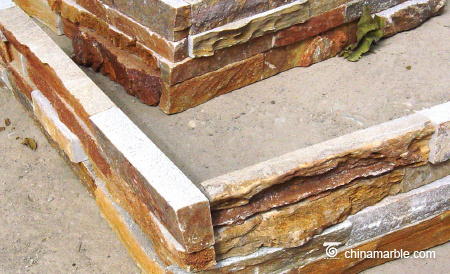 Rust Slate Flat Cultured Wall Stone Corner & Cement Ledgestone Wall Corner