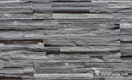 Black Fine Strip Thin Slate Stone Veneer