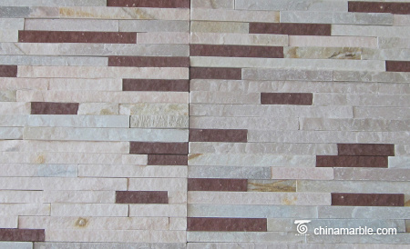 White and Red Marble Thin Stone Veneer