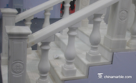 Inclined marble balustrade
