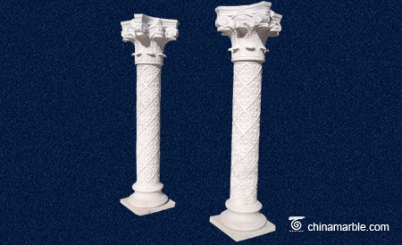 Carved white marble column