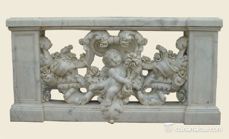 Carved cherubs balustrade panel