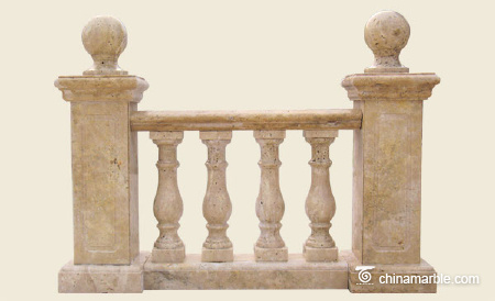 Travertine balustrade with post