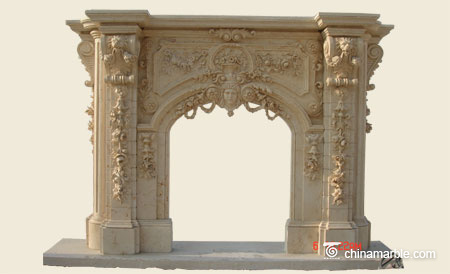 Stone carved fireplace