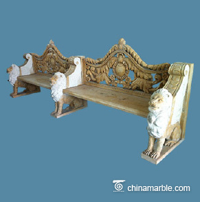Fancy carved stone bench