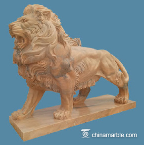 Pink marble lion
