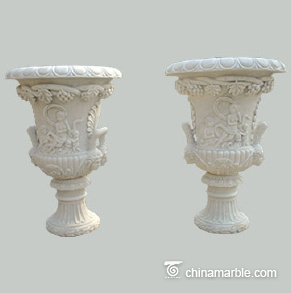 Marble flowerpot with relief