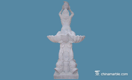 Classic statuary marble fountain