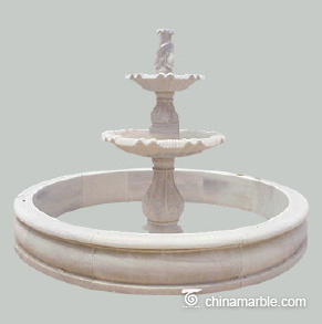 Two tiered marble fountain