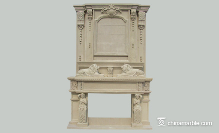 Beige stone fireplace