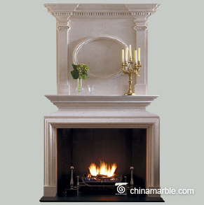 Ornate single stone fireplace