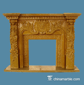 Yellow marble mantel