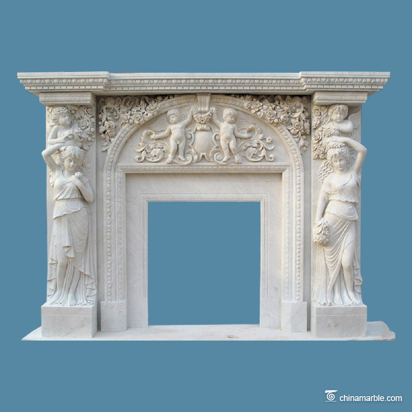 Carved figures fireplace