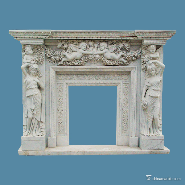 Two maidens marble fireplace