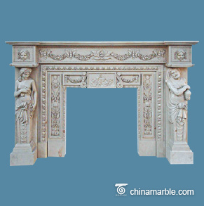 Greek style statues marble fireplace