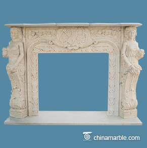 Two ladies statuary marble mantel
