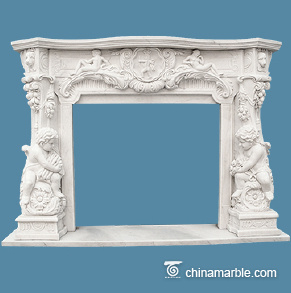 Babies carved fireplace