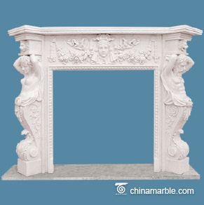 Carved marble fireplace