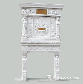 Classic marble fireplace with overmantel