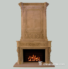 Cream Marble Double Mantel