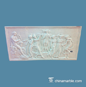 White marble figures wall relief