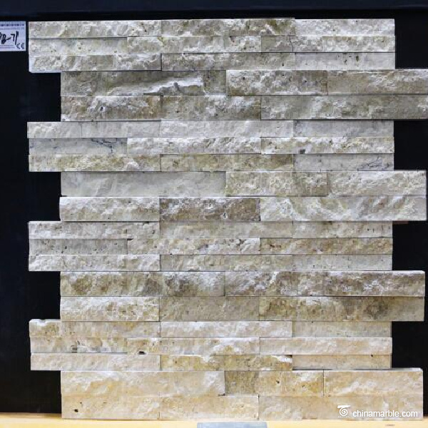 Chinese Beige Travertine Wall Stone Cladding Ledge Stone