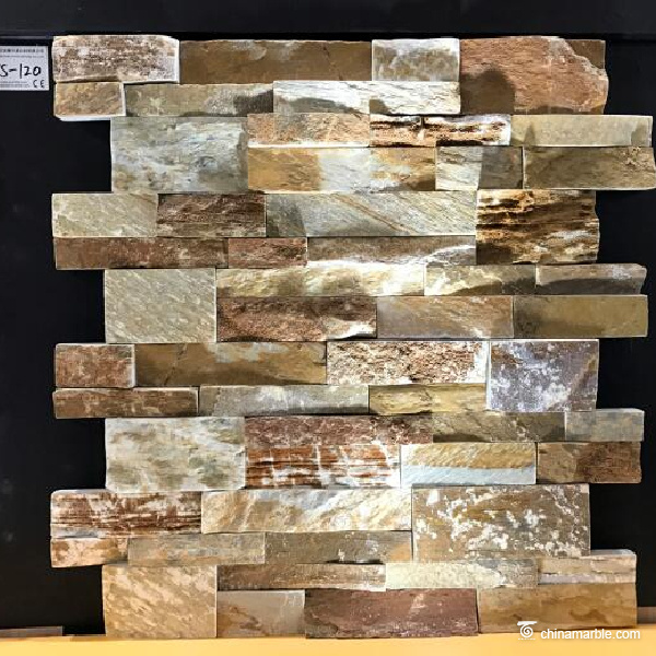 Gold White Yellow Slate Stone Wall Cladding WS-120