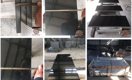 black granite hearths and panels delivered to Ireland.
