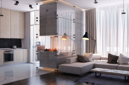 Loft retro decoration, the use of fireplace presents a different effect