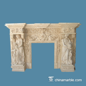 Grandly Carving Fireplace