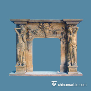 Free Standing Brown Marble Carved Figures Fireplace