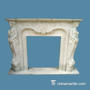 Cream Marble Fireplace Mantel