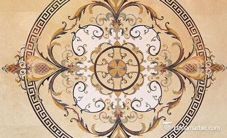 Multi-color marble medallion