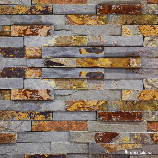 S1120 Flat Split Surface Finish Ledge Stone, Rust Slate Wall Stone Cladding