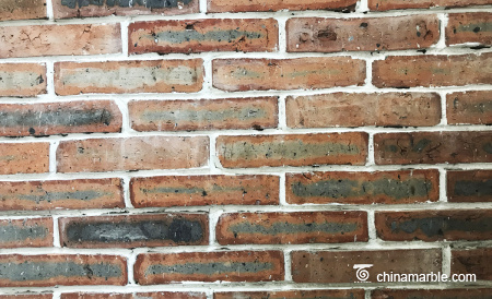 Old Reclaimed Bricks Sawn Cut Surface With Red Color