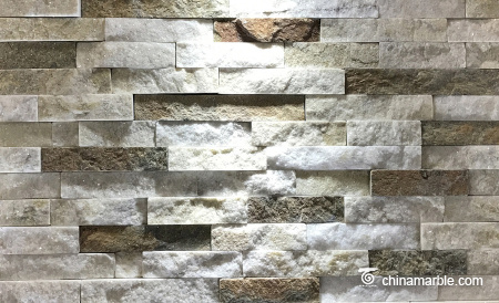 White/Rust Quartzite Ledge Stone, China Wall Cladding