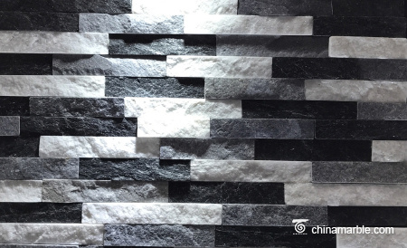 Black/Blue/White Quartzite Ledge Stone, China Stacked Stone Wall Cladding