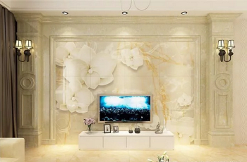 Elegant  Marble slate TV background wall