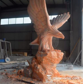 Carving and Stone Eagle Sculpture