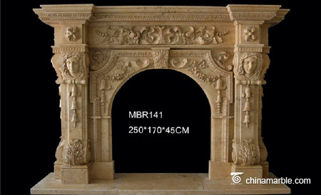 Yellow Composite Granite Column Fireplace Hearth Surround/Fireplace Mantel